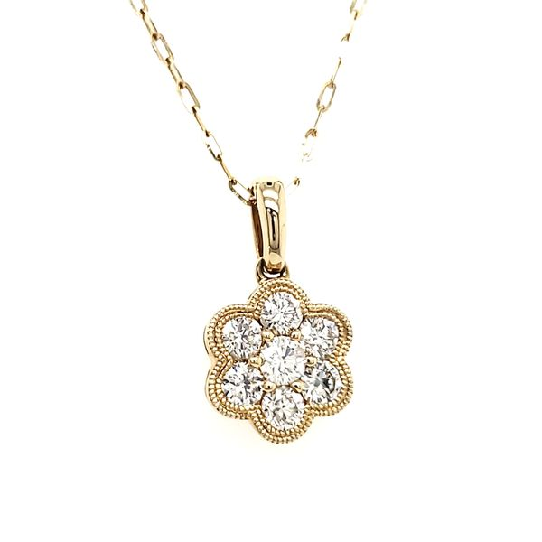 14K Yellow Gold Double Milgrain Cluster Diamond Pendant Image 2 Quality Gem, LLC Bethel, CT