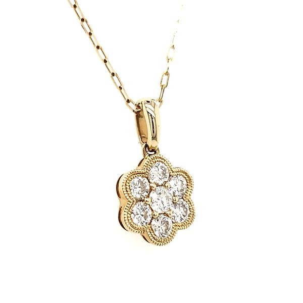 14K Yellow Gold Double Milgrain Cluster Diamond Pendant Image 3 Quality Gem, LLC Bethel, CT