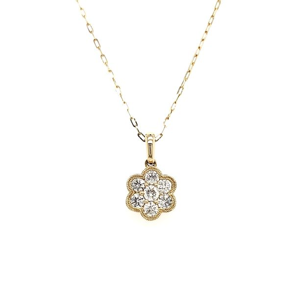 14K Yellow Gold Double Milgrain Cluster Diamond Pendant Image 4 Quality Gem, LLC Bethel, CT