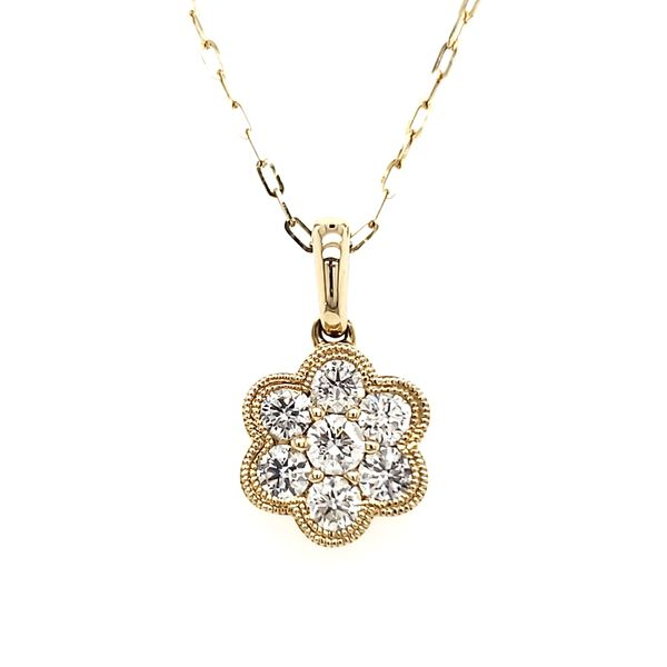 14K Yellow Gold Double Milgrain Cluster Diamond Pendant Quality Gem, LLC Bethel, CT