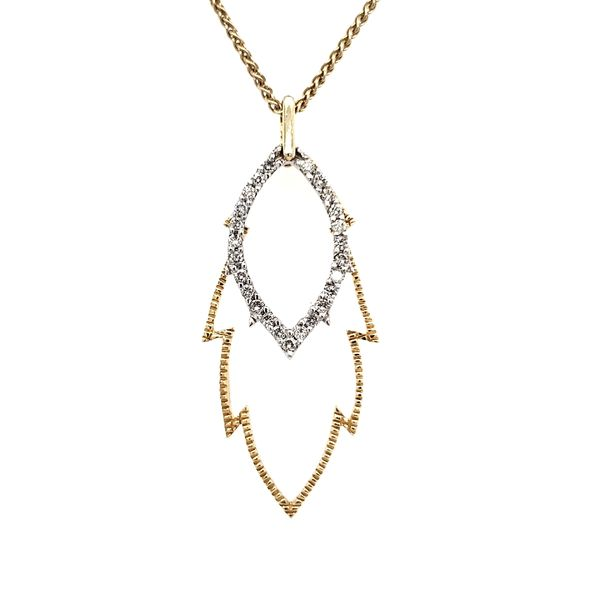 14K Yellow & White Gold Textured Open Double Leaf Diamond Pendant Image 2 Quality Gem, LLC Bethel, CT