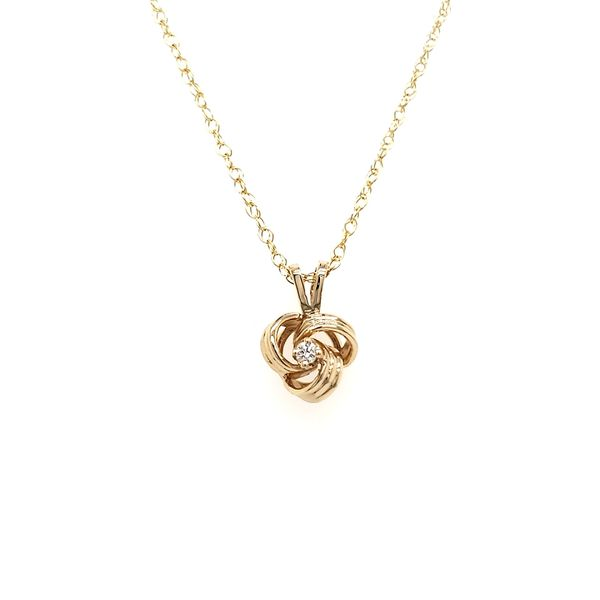 14K Yellow Gold Knot & Diamond Pendant Image 3 Quality Gem, LLC Bethel, CT