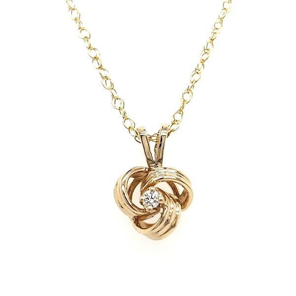 14K Yellow Gold Knot & Diamond Pendant Quality Gem, LLC Bethel, CT