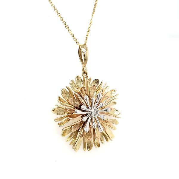 14K Tricolor Textured Flower With Diamond Center Pendant Image 2 Quality Gem, LLC Bethel, CT