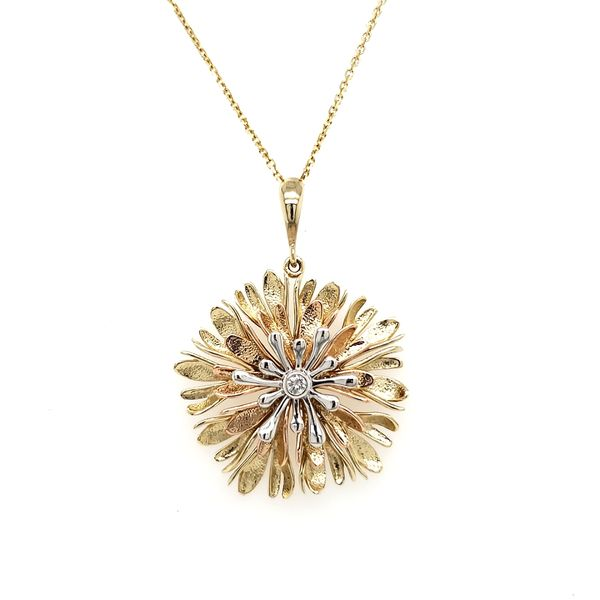 14K Tricolor Textured Flower With Diamond Center Pendant Image 3 Quality Gem, LLC Bethel, CT