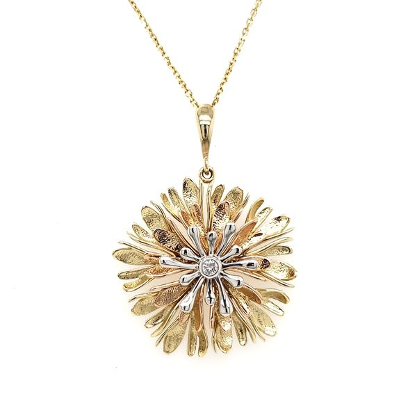 14K Tricolor Textured Flower With Diamond Center Pendant Quality Gem, LLC Bethel, CT