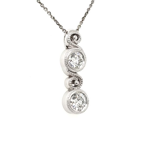 14K White Gold Double Swirl Milgrain Bezel Diamond Pendant Image 2 Quality Gem, LLC Bethel, CT