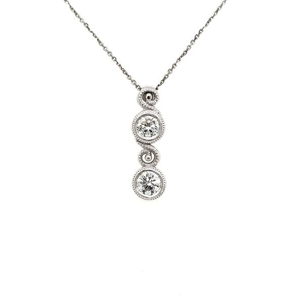 14K White Gold Double Swirl Milgrain Bezel Diamond Pendant Image 3 Quality Gem, LLC Bethel, CT