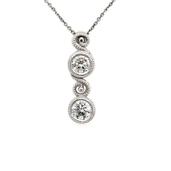 14K White Gold Double Swirl Milgrain Bezel Diamond Pendant Quality Gem, LLC Bethel, CT