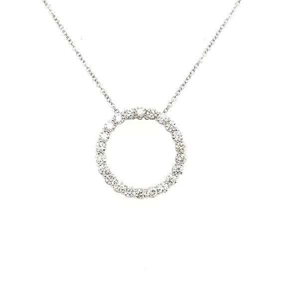 14K White Gold Diamond Circle Pendant Image 2 Quality Gem, LLC Bethel, CT
