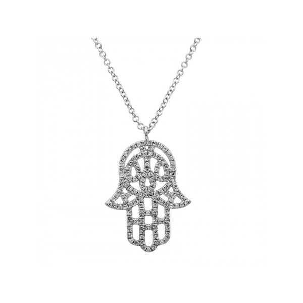 14K White Gold Hamsa Diamond Pendant Image 2 Quality Gem, LLC Bethel, CT