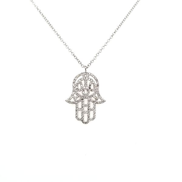 14K White Gold Hamsa Diamond Pendant Image 3 Quality Gem, LLC Bethel, CT