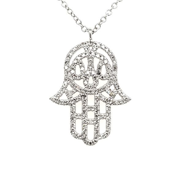 14K White Gold Hamsa Diamond Pendant Quality Gem, LLC Bethel, CT
