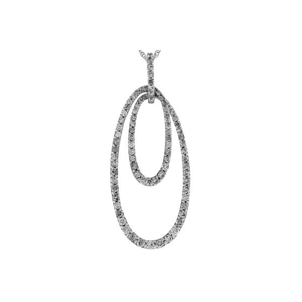14k White Gold Double Oval Diamond Pendant Image 2 Quality Gem, LLC Bethel, CT