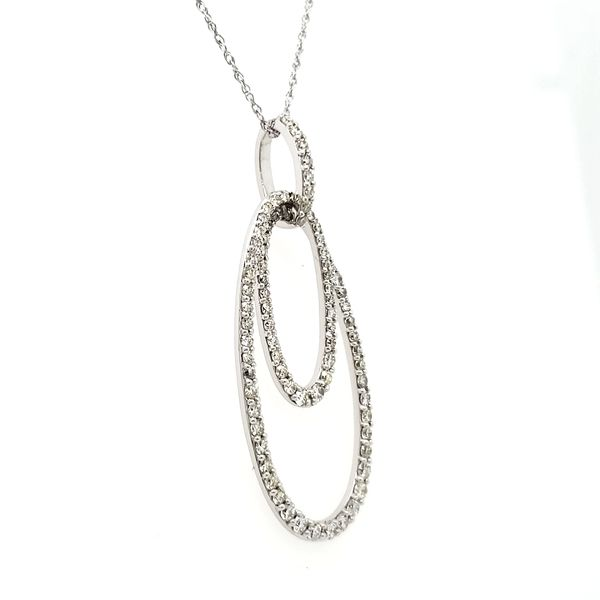 14k White Gold Double Oval Diamond Pendant Image 4 Quality Gem, LLC Bethel, CT