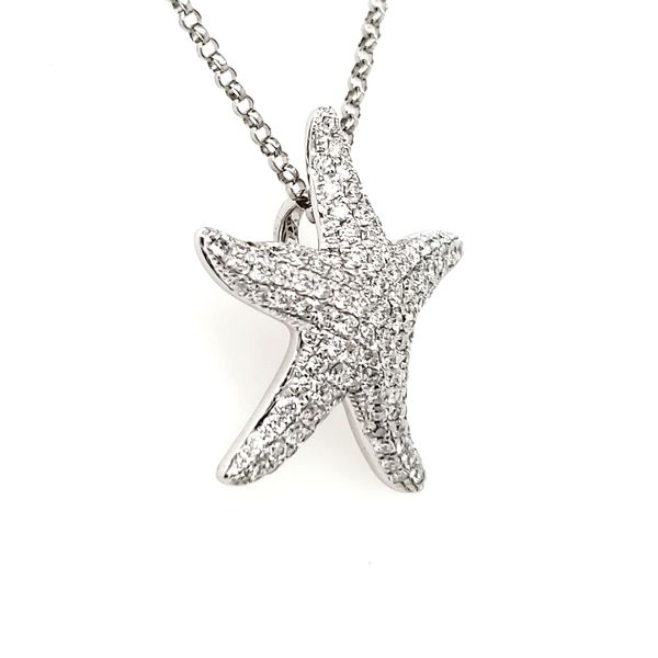 14K White Gold Pavé Diamond Encrusted Starfish Pendant Image 2 Quality Gem, LLC Bethel, CT