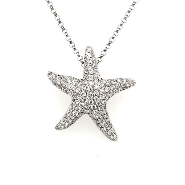 14K White Gold Pavé Diamond Encrusted Starfish Pendant Quality Gem, LLC Bethel, CT
