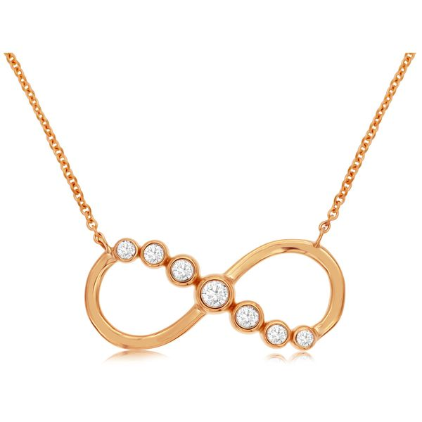 14K Rose Gold Bezel Diamond Infinity Necklace Quality Gem LLC Bethel, CT