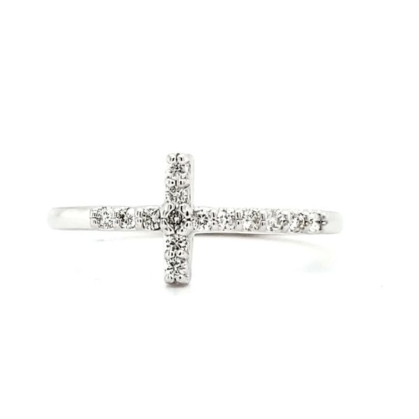 14K White Gold Diamond Cross Ring Image 2 Quality Gem, LLC Bethel, CT