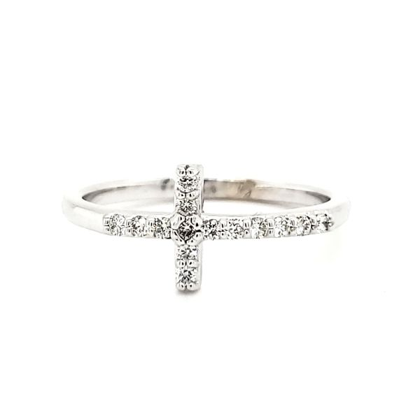 14K White Gold Diamond Cross Ring Image 3 Quality Gem, LLC Bethel, CT