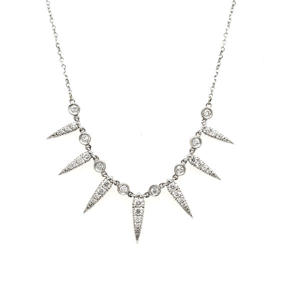 14K White Gold Seven Ray Diamond Necklace Image 2 Quality Gem, LLC Bethel, CT