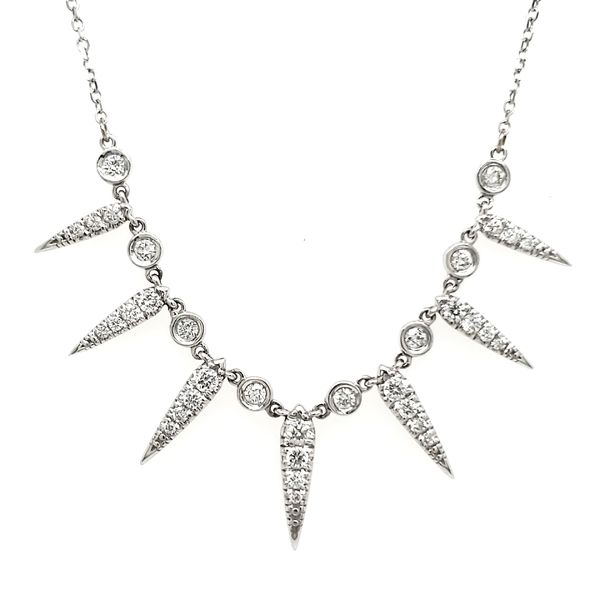 14K White Gold Seven Ray Diamond Necklace Quality Gem, LLC Bethel, CT