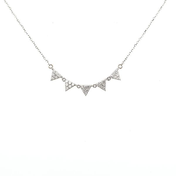 14K White Gold Five Triangle Diamond Necklace Image 2 Quality Gem, LLC Bethel, CT