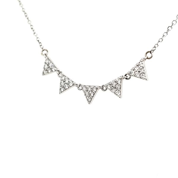 14K White Gold Five Triangle Diamond Necklace Image 3 Quality Gem, LLC Bethel, CT