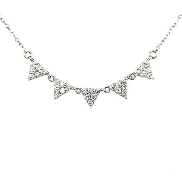 14K White Gold Five Triangle Diamond Necklace Quality Gem, LLC Bethel, CT