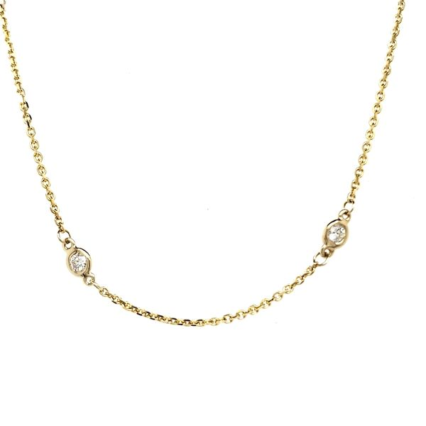 14K Yellow Gold Diamond Station Necklace Quality Gem, LLC Bethel, CT