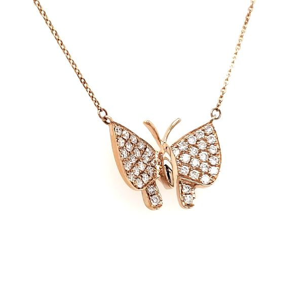 14K Rose Gold Diamond Buterfly Necklace Image 2 Quality Gem, LLC Bethel, CT