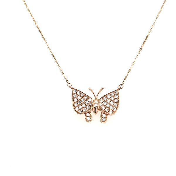 14K Rose Gold Diamond Buterfly Necklace Image 3 Quality Gem, LLC Bethel, CT