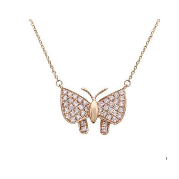 14K Rose Gold Diamond Buterfly Necklace Image 4 Quality Gem, LLC Bethel, CT