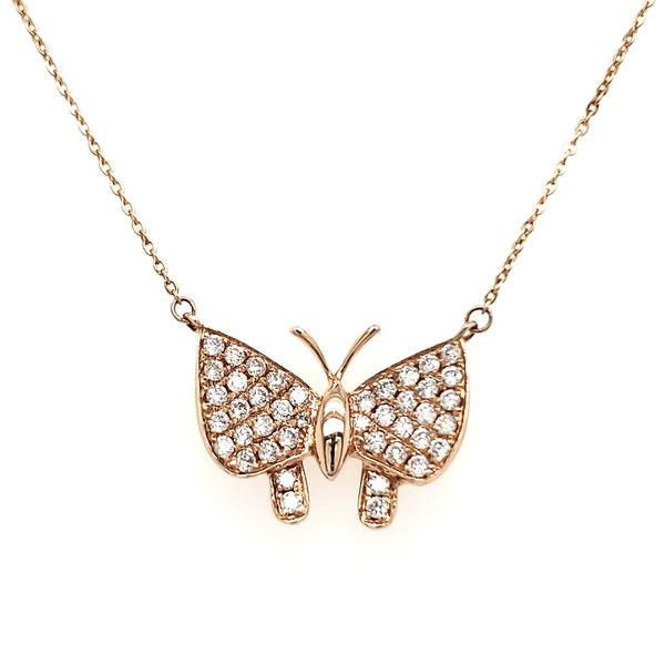 14K Rose Gold Diamond Buterfly Necklace Quality Gem, LLC Bethel, CT