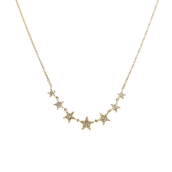 14K Yellow Gold Seven Star Diamond Necklace Image 2 Quality Gem, LLC Bethel, CT