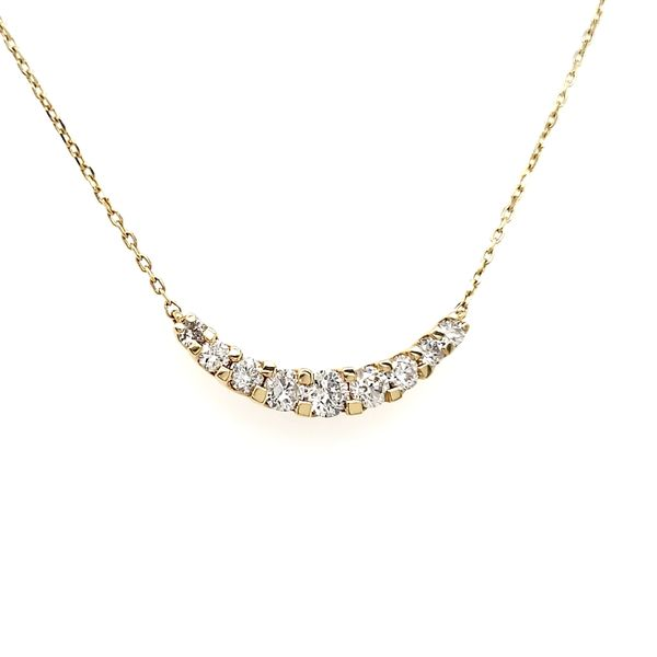18K White Gold Curved Diamond Bar Necklace Image 2 Quality Gem, LLC Bethel, CT