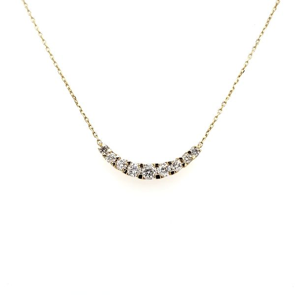 18K White Gold Curved Diamond Bar Necklace Image 3 Quality Gem, LLC Bethel, CT