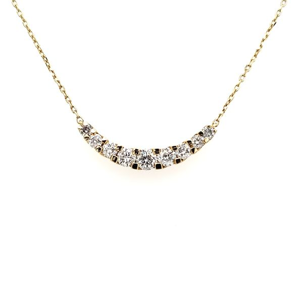 18K White Gold Curved Diamond Bar Necklace Quality Gem, LLC Bethel, CT