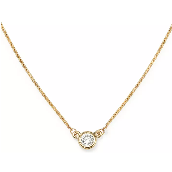 14K Yellow Gold Solitaire Bezel 0.25ct Diamond Necklace Quality Gem LLC Bethel, CT