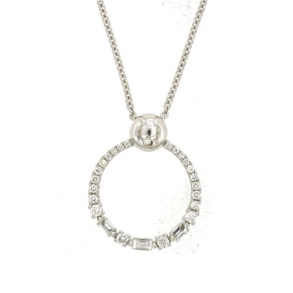 14K White Gold Baguette & Round Diamond Circle Necklace Quality Gem LLC Bethel, CT