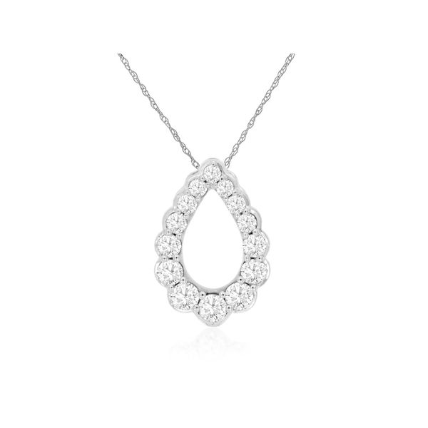 14K White Gold Open Diamond Tear Drop Necklace Quality Gem LLC Bethel, CT