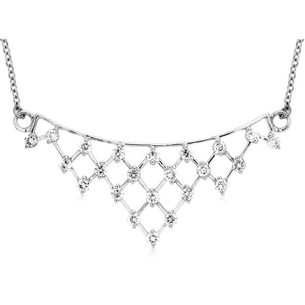 14K White Gold Lattice Diamond Bar Necklace Quality Gem LLC Bethel, CT