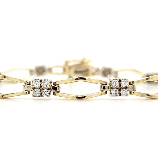 14K Yellow Gold Cluster Diamond Link Bracelet Image 2 Quality Gem, LLC Bethel, CT