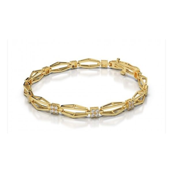14K Yellow Gold Cluster Diamond Link Bracelet Image 4 Quality Gem, LLC Bethel, CT