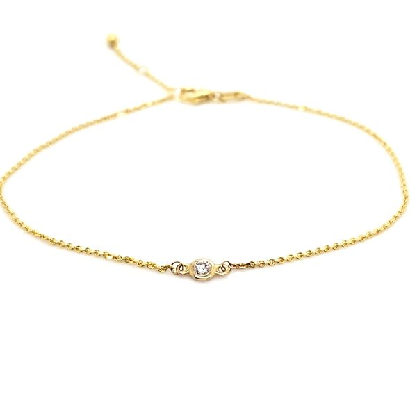 14K Yellow Gold Solitaire Bezel 0.06ct Diamond Bracelet Quality Gem, LLC Bethel, CT