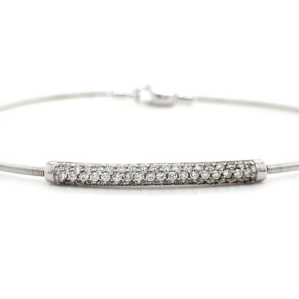 14K White Gold Diamond Bar Flex Wire Bangle Bracelet Image 2 Quality Gem, LLC Bethel, CT