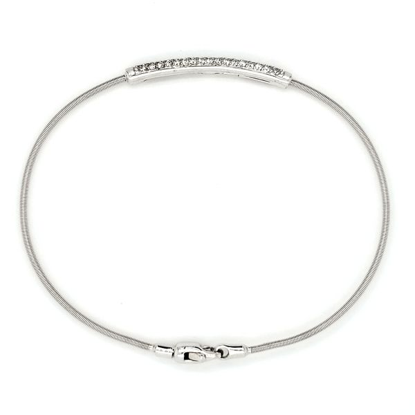 14K White Gold Diamond Bar Flex Wire Bangle Bracelet Image 3 Quality Gem, LLC Bethel, CT