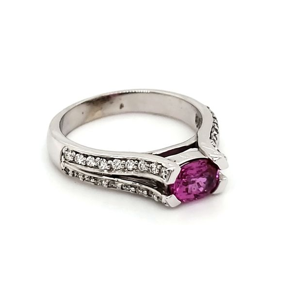 14K White Gold Pink Sapphire & Diamond Ring Image 2 Quality Gem, LLC Bethel, CT