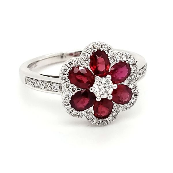 18K White Gold Floral Ruby & Diamond Ring Image 2 Quality Gem, LLC Bethel, CT