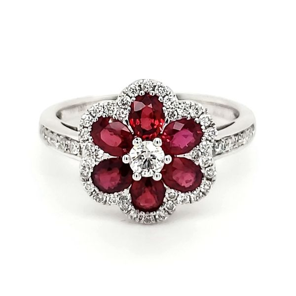 18K White Gold Floral Ruby & Diamond Ring Quality Gem, LLC Bethel, CT